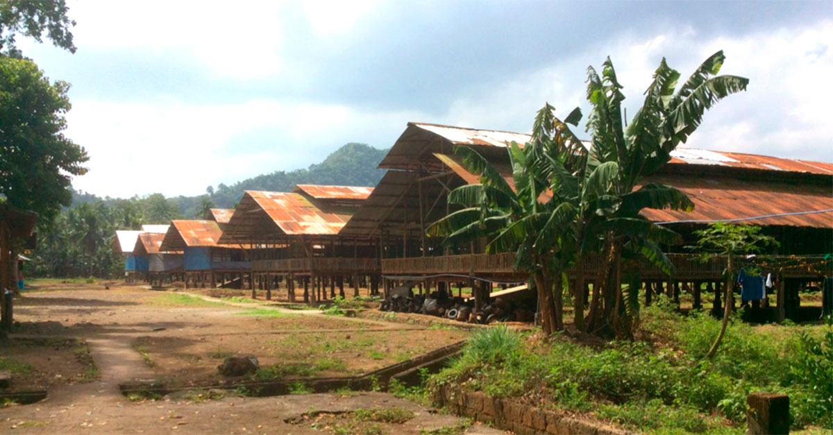 Traditional Asian bamboo slatted house.